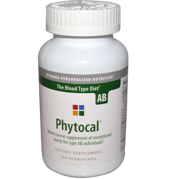D'adamo, Phytocal, Multimineral Supplement, The Blood Type Diet AB, 120 Veggie Caps (Discontinued Item)