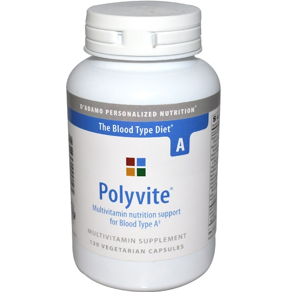 D'adamo, Polyvite, Multivitamin, The Blood Type Diet A, 120 Veggie Caps (Discontinued Item)