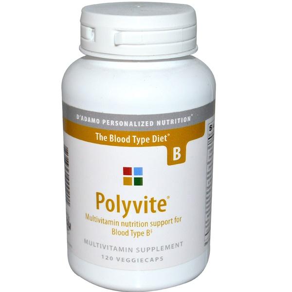 D'adamo, Polyvite, Multivitamin for Blood Type B, 120 Veggie Caps (Discontinued Item)