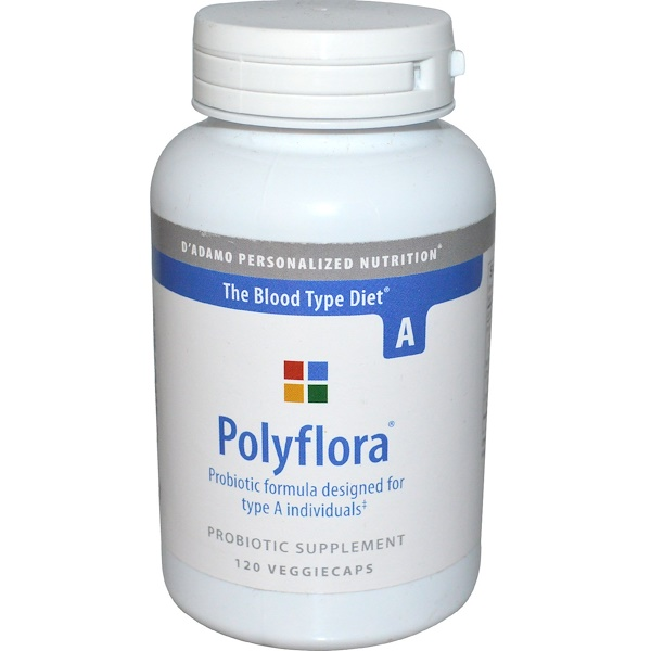 D'adamo, Polyflora, Probiotic Formula for Blood Type A, 120 Veggie Caps (Discontinued Item)