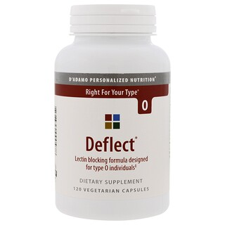 D'adamo, Deflect, Lectin Blocking Formula, The Blood Type Diet 0, 120 Veggie Caps