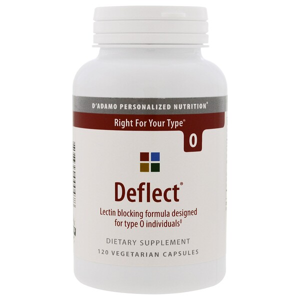 D'adamo, Deflect, Lectin Blocking Formula, The Blood Type Diet 0, 120 Vegetarian Capsules