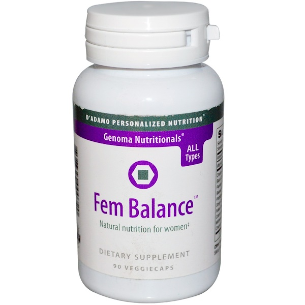 D'adamo, Genoma Nutritionals, Fem Balance, 90 Veggie Caps (Discontinued Item)