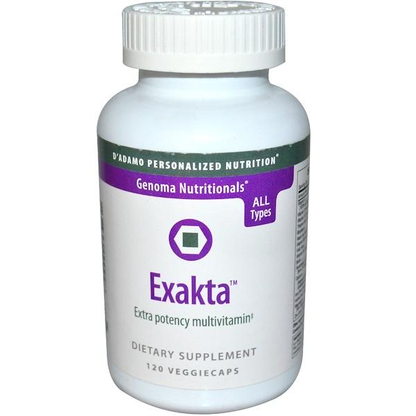 D'adamo, Genoma Nutritionals, Exakta, Extra Potency Multivitamin, 120 Veggie Caps (Discontinued Item)