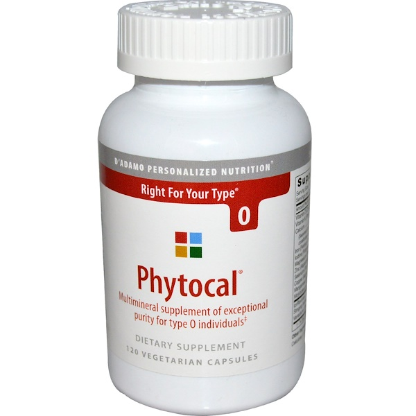 D'adamo, フォトカル, O型血液用マルチミネラル, 植物性カプセル120粒 (Discontinued Item)