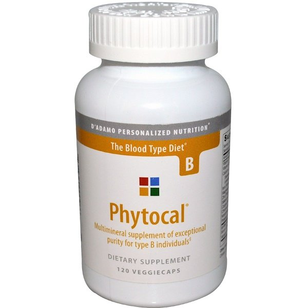 D'adamo, Phytocal, Multimineral for Blood Type B, 120 Veggie Caps (Discontinued Item)