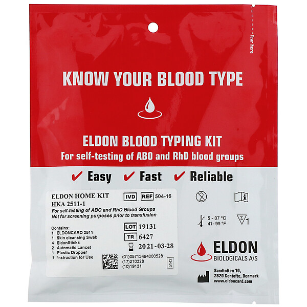 Eldon Blood Typing Kit, 1 Easy Self-Testing Kit