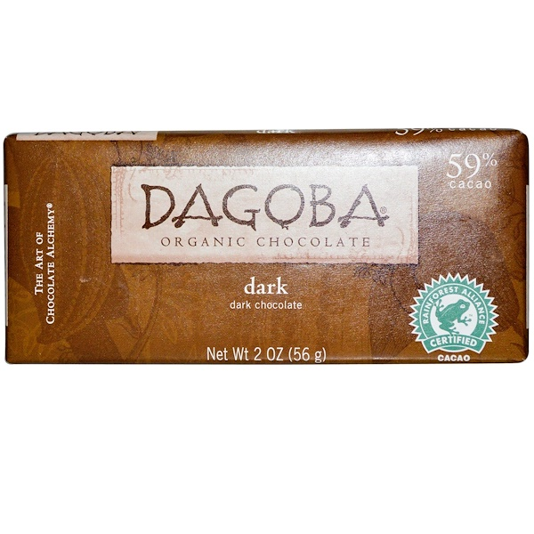 Dagoba Organic Chocolate, ダークチョコレート、 2 oz (56 g) (Discontinued Item)