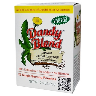 Dandy Blend, Instant Herbal Beverage With Dandelion, Caffeine Free, 25 Single Serving Pouches