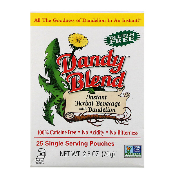 Instant Herbal Beverage With Dandelion, Caffeine Free, 25 Single Serving Pouches