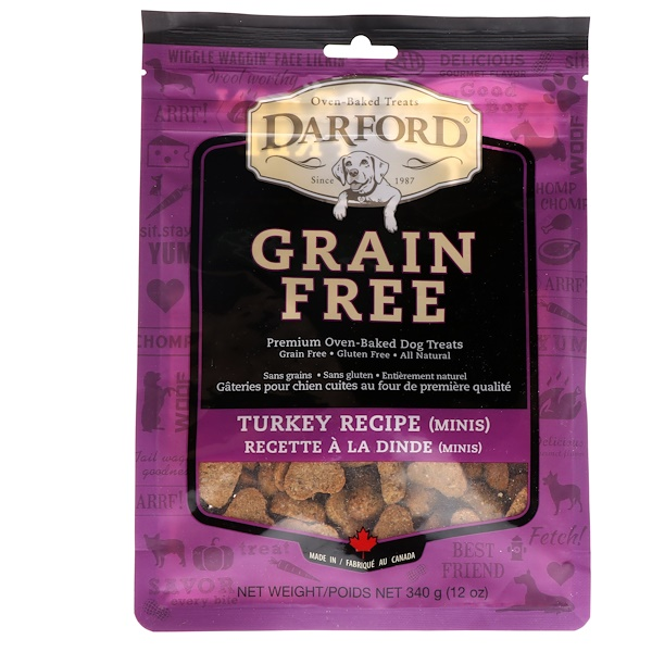 Darford, Grain Free, Premium Oven-Baked Dog Treats, Turkey Recipe, Minis, 12 oz (340 g) (Discontinued Item)