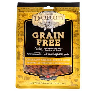 Darford, Grain Free, Premium Oven-Baked Dog Treats, Cheddar Cheese, Minis, 12 oz (340 g)