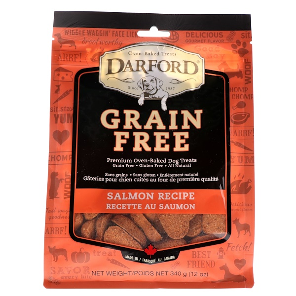 Darford, Grain Free, Premium Oven-Baked Dog Treats, Salmon Recipe, 12 oz (340 g)