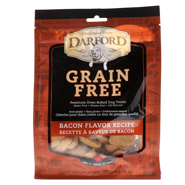 Darford, Grain Free, Premium Oven-Baked Dog Treats, Bacon Flavor Recipe, 12 oz (340 g)