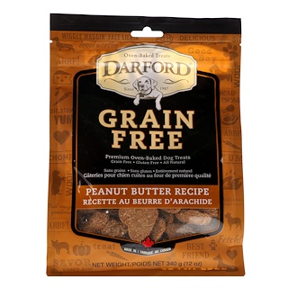 Darford, Grain Free, Premium Oven-Baked Dog Treats, Peanut Butter Recipe, 12 oz (340 g)