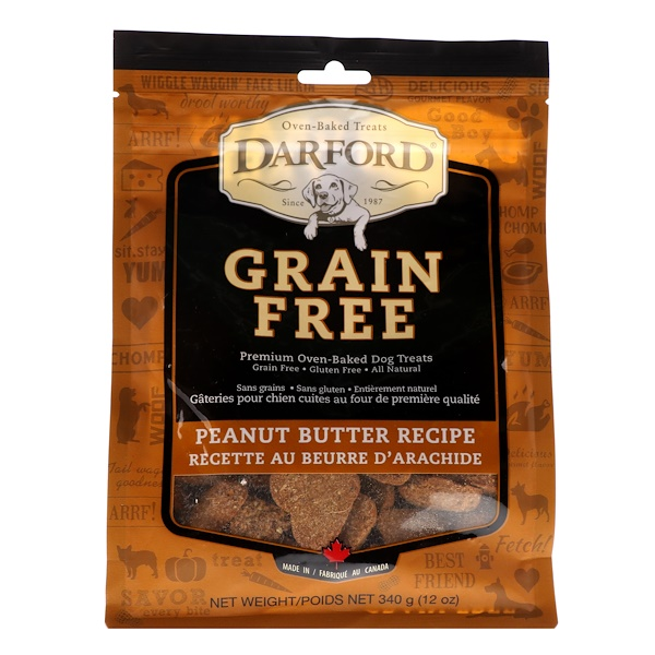 Darford, Grain Free, Premium Oven-Baked Dog Treats, Peanut Butter Recipe, 12 oz (340 g) (Discontinued Item)