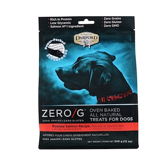 Darford, Zero/G, Oven Baked, All Natural, Treats For Dogs, Roasted Salmon Recipe, 12 oz (340 g)