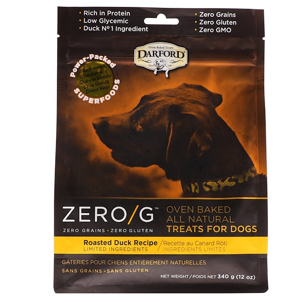 Darford, Zero/G, Oven Baked, All Natural, Treats For Dogs, Roasted Duck Recipe, 12 oz (340 g)
