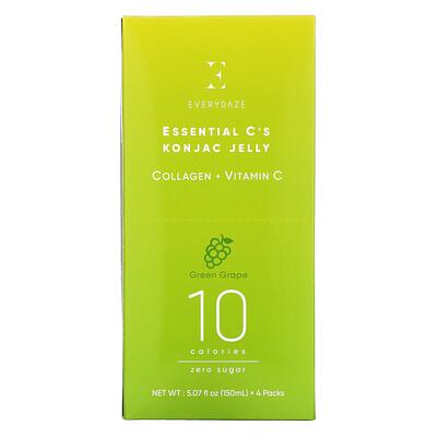 Купить Everydaze Essential C's Konjac Jelly, Green Grape, 4 Pouches, 5.07 fl oz (150 ml) Each