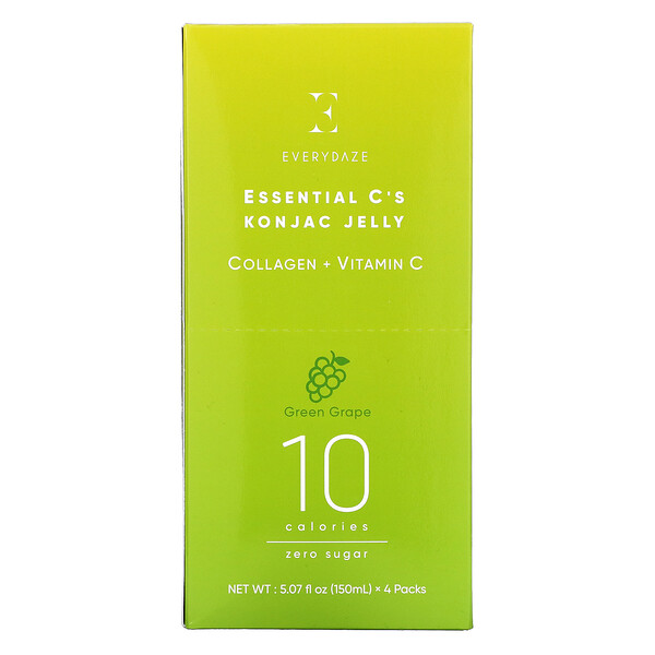 Everydaze, Essential C's Konjac Jelly, Green Grape, 4 Pouches, 5.07 fl oz (150 ml) Each