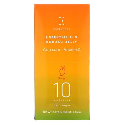 Купить Everydaze Essential C's Konjac Jelly, Mango, 4 Pouches, 5.07 fl oz (150 ml) Each