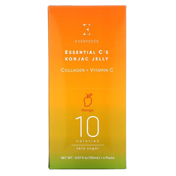 Essential C's Konjac Jelly, Mango, 4 Pouches, 5.07 fl oz (150 ml) Each