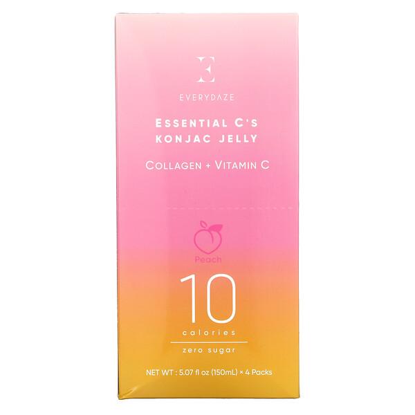 Essential C's Konjac Jelly, Peach, 4 Pouches, 5.07 fl oz (150 ml ) Each