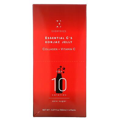 Купить Everydaze Essential C's Konjac Jelly, Cola, 4 Pouches, 5.07 fl oz (150 ml) Each