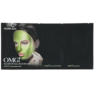 Double Dare, OMG, Platinum Green Facial Mask Kit, 3 in 1 Kit