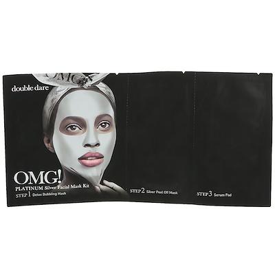 Double Dare OMG!, Platinum Silver Facial Mask Kit, 1 Kit