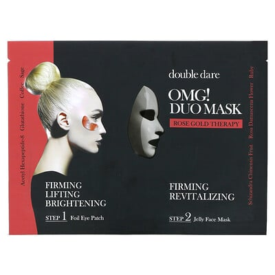 Double Dare OMG! Duo Beauty Mask, Rose Gold Therapy, 2 Piece Set