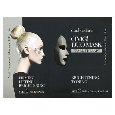 Double Dare OMG! Duo Beauty Mask, Pearl Therapy, 1 Set