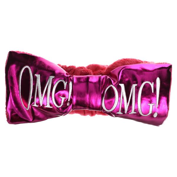 OMG! Reversible Mega Hair Band, Hot Pink Plush & Hot Pink Platinum, 1 Piece