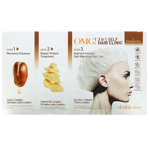 OMG! 3 in 1 Self Hair Clinic, For Damaged Hair, 3 Step Kit