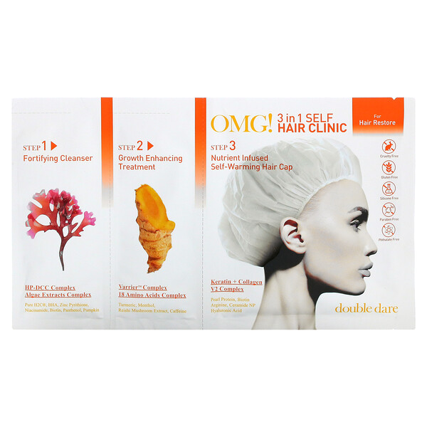 Double Dare, OMG! 3-in-1 Self Hair Clinic, For Hair Restore, 3 Step Kit