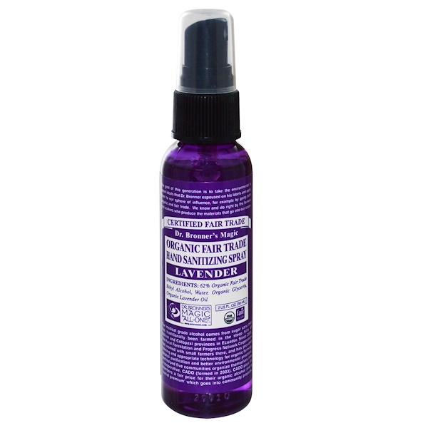 Dr. Bronner's Magic Soaps, Organic Fair Trade Hand Sanitizing Spray, Lavender, 2 fl oz (59 ml) (Discontinued Item)