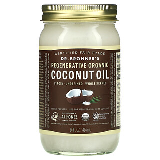 Dr. Bronner's, Regenerative Organic Coconut Oil, Whole Kernel, 14 fl oz (414 ml)