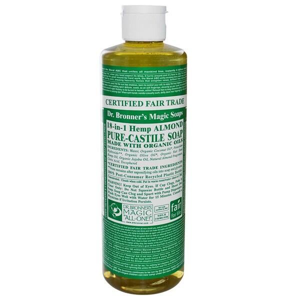 Dr. Bronner's Magic Soaps, Pure Castile Soap, 18-in-1 Hemp Almond, 16 fl oz (473 ml) (Discontinued Item)