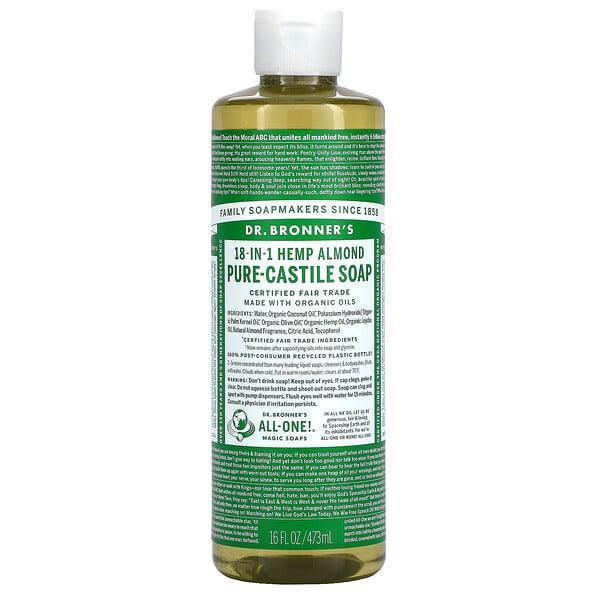 18-in-1 Hemp Pure-Castile Soap, Almond, 16 fl oz (473 ml)