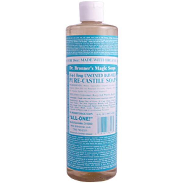Dr. Bronner's Magic Soaps, Hemp Baby Mild Pure Castile Soap, Unscented, 16 fl oz (472 ml) (Discontinued Item)