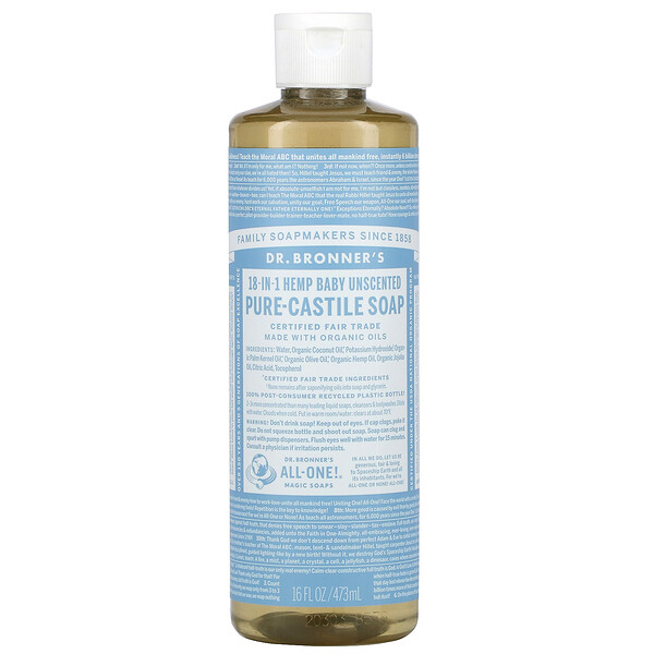 18-in-1 Hemp  Pure-Castile Soap, Baby Unscented, 16 fl oz (473 ml)