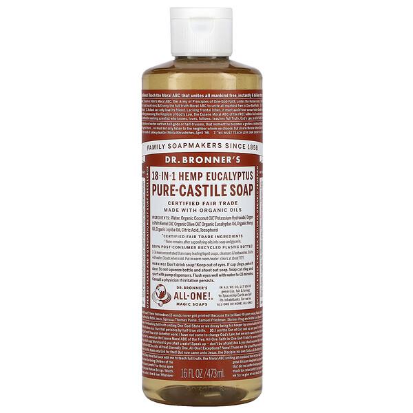 18-in-1 Hemp Pure-Castile Soap, Eucalyptus, 16 fl oz (473 ml)