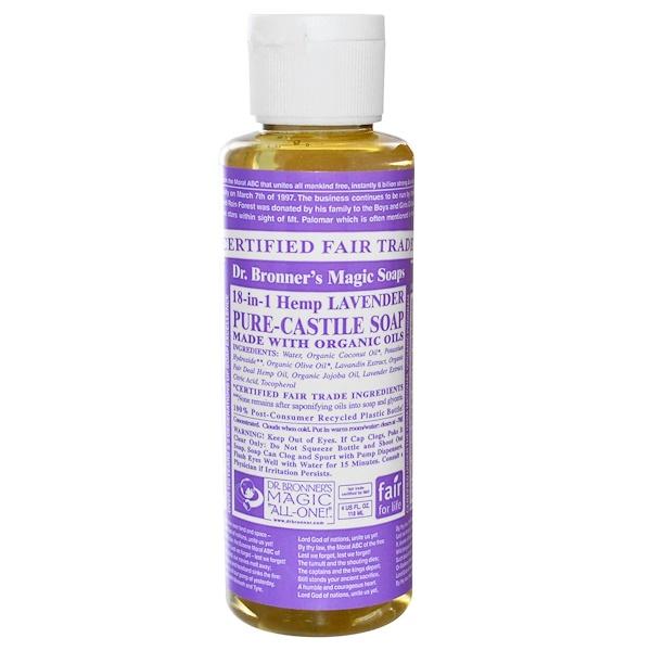 Dr. Bronner's, 18-in-1 Pure-Castile Soap, Hemp Lavender, 4 fl oz (118 ml) (Discontinued Item)