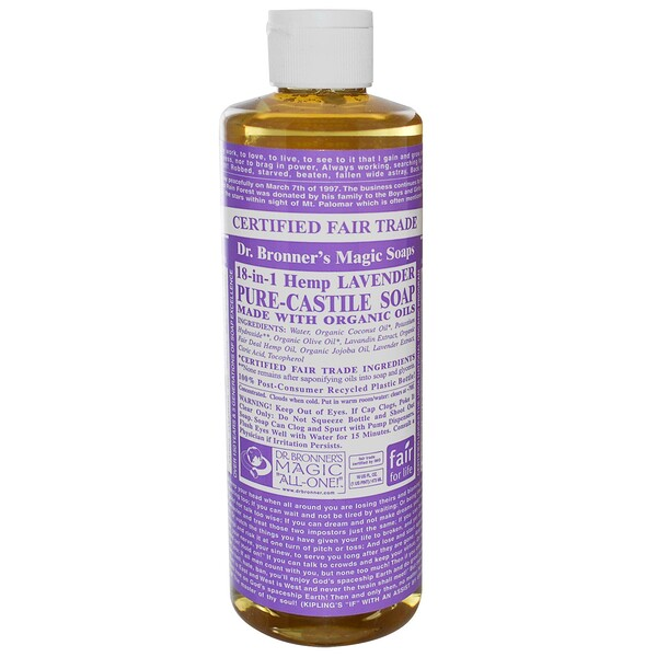 Dr. Bronner's Magic Soaps, Pure Castile Soap, 18-in-1 Hemp Lavender, 16 fl oz (473 ml) (Discontinued Item)