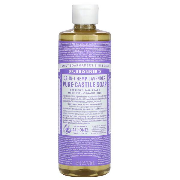 18-in-1 Hemp Pure-Castile Soap, Lavender, 16 fl oz (473 ml)