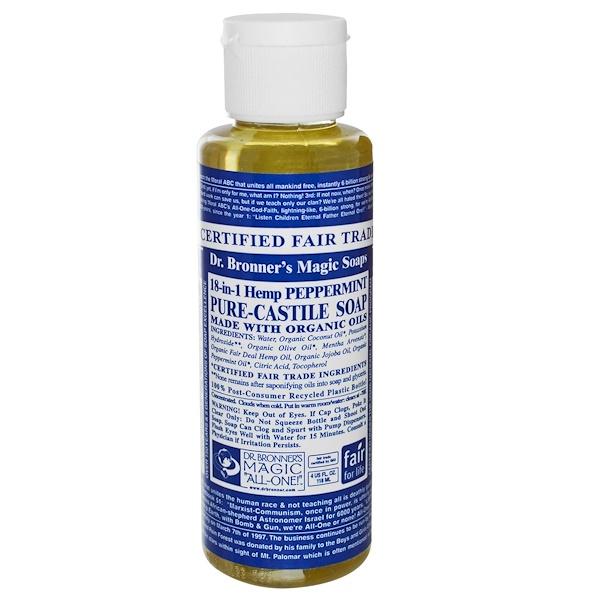 Dr. Bronner's, Pure Castile Soap, 18-in-1 Hemp Peppermint, 4 fl oz (118 ml) (Discontinued Item)