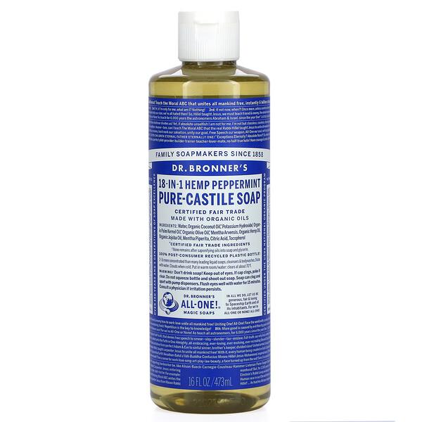 18-in-1 Hemp Pure-Castile Soap, Peppermint, 16 fl oz (473 ml)