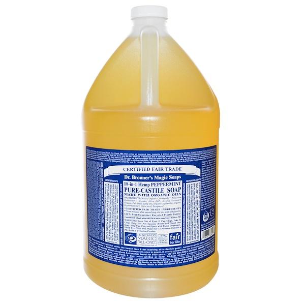 Dr. Bronner's, Pure Castile Soap, 18-in-1 Hemp Peppermint, 128 fl oz (3.8 l) (Discontinued Item)