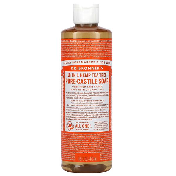 18-in-1 Hemp Pure-Castile Soap, Tea Tree, 16 fl oz (473 ml)