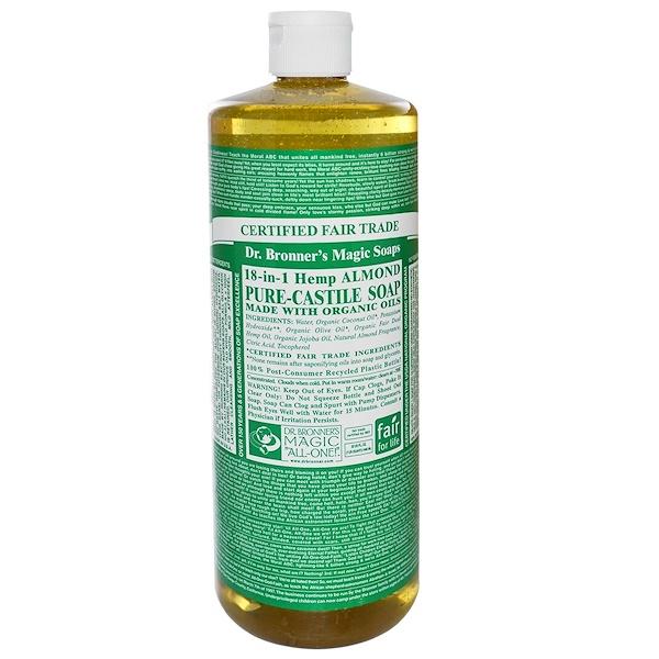 Dr. Bronner's, 18-in-1 Pure-Castile Soap, Hemp Almond, 32 fl oz (946 ml) (Discontinued Item)
